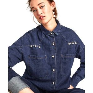 ZARA Denim Shirt with faux pearls
